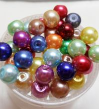 6mm pearl glass beads. Mixed x 40